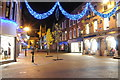 SO8554 : Christmas lights on Worcester High Street 4 by Philip Halling