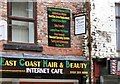 SJ9494 : Signs above East Coast Hair & Beauty Internet Cafe by Gerald England