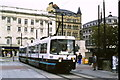 SJ8498 : Tram in Piccadilly Gardens by Malc McDonald