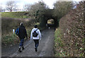 SJ7287 : Walking towards the Bridgewater Canal aqueduct by michael ely