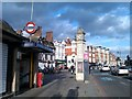 TQ2975 : Clapham Common tube station entrance and clock tower by David Martin