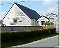 SN7028 : Two-tone Community Centre, Llangadog by John Grayson