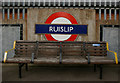 TQ0987 : London Underground roundel, Ruislip by Julian Osley