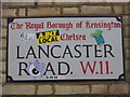 TQ2481 : Street sign, Lancaster Road W11 by R Sones