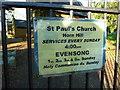 TQ0192 : St Paul's Church, Horn Hill, Sign by Alexander P Kapp