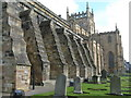 NT0887 : Dunfermline Abbey - south side and buttresses by M J Richardson