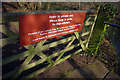 SP0583 : Sign on a gate near the dam at Edgbaston Pool by Phil Champion