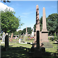 SP0892 : Three pink granite obelisks in view, Witton Cemetery by Robin Stott
