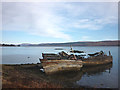 NM5643 : Beached and rotting fishing boats, Salen by Karl and Ali
