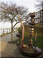 TQ2377 : Sculpture, Rosebank Wharf by Derek Harper