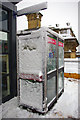 SE0924 : Snow encrusted phone boxes at Halifax railway station by Phil Champion