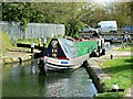 TL0604 : Narrowboat leaving the lock, Nash Mills Lane, Hemel Hempstead : Week 16