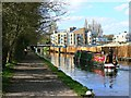 TL0604 : Narrowboat approaching new housing development, Nash Mills, Hemel Hempstead by Brian Robert Marshall