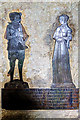 SO5174 : St Giles church, Ludford - brass to William Foxe & wife Jane (detail) by Mike Searle