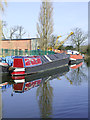 SJ8710 : Working narrowboat near Stretton, Staffordshire by Roger  Kidd