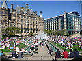 SK3587 : Sheffield: a sunny bank holiday at the Peace Gardens by Chris Downer