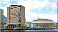 J3474 : The &quot;Hilton&quot; hotel and Waterfront Hall, Belfast by Albert Bridge