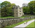 SK2383 : North Lees Hall and a sheep by Neil Theasby