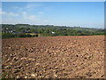 SW7828 : Freshly ploughed field at Meudon Farm by Rod Allday