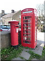 SK1285 : Edale: postbox № S33 559 and phone by Chris Downer