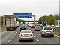 SJ7465 : Sign Gantry over Northbound M6 near Sproston Green by David Dixon