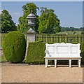 TL3351 : White seat in the formal gardens by David P Howard