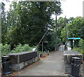 SO1091 : Eastern approach to a suspension footbridge over the River Severn, Newtown by Jaggery