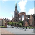 SP3379 : Coventry Cathedral Ruins and St Michael's Tower by David Dixon