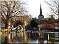 TQ5365 : River Darent in flood: Eynsford Bridge by Stephen Craven