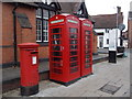 SP1955 : Stratford-upon-Avon: postbox № CV37 19 and phone boxes, Henley Street by Chris Downer
