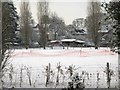 SP2965 : Cricket square in the snow, Myton by Robin Stott
