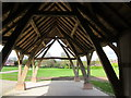 SJ4259 : Cruck Framed Barn on Aldford Village Green by Jeff Buck