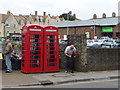 SY6990 : Dorchester: phone boxes in Trinity Street by Chris Downer