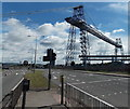 ST3186 : West side of Newport Transporter Bridge by Jaggery