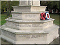 SP9211 : Tring War Memorial - South West facing Inscriptions by Chris Reynolds