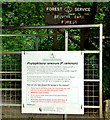 J3369 : Tree disease warning sign, Belvoir forest, Belfast (August 2014) by Albert Bridge