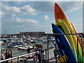 SY3391 : Lyme Regis: kayaks by The Cobb by Chris Downer