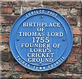 Photo of Thomas Lord blue plaque