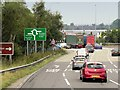 SJ8743 : Westbound A50 Approaching Sideway Roundabout by David Dixon