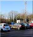 SO8504 : Communications mast at the edge of London Road car park, Stroud by Jaggery