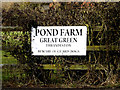 TM1277 : Pond Farm sign by Adrian Cable