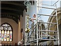 TF0919 : Cleaning the chandelier at the Abbey Church, Bourne, Lincolnshire by Rex Needle