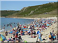 SW3526 : A crowded beach at Sennen at the end of July : Week 30