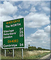 TL1152 : Roadsign on the A421 Great Barford Bypass by Adrian Cable