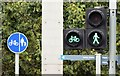 J3474 : Cycle lane sign and traffic lights, Donegall Quay, Belfast (August 2015) by Albert Bridge
