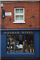 Although closed in this Sunday morning view, Topsham Wines on High Street appears to offer an interesting and unusual range of wines and spirits.