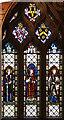 TL5448 : Holy Trinity, Hildersham - Stained glass window by John Salmon