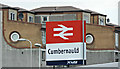 NS7673 : Cumbernauld railway station sign by Thomas Nugent