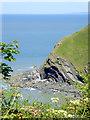 SS2427 : Rocky coast near Titchberry in Devon by Roger  Kidd