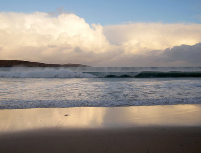 HP6514 : Clouds reflected on Norwick beach by Mike Pennington